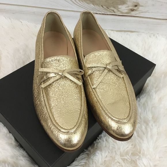 aca5c833905  J. Crew  Metallic Gold Leather Academy Loafers